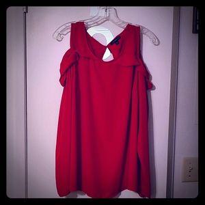 Red cold-shoulder top